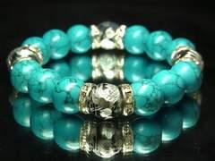 激渋い!!銀彫皇帝龍ドラゴンアゲートXターコイズ12ミリ数珠