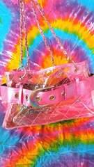 激カワッ!ピンクエナメル&キルティングクリアバッグ