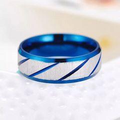 【特A品】ブルー×シルバー リング 15号 新品