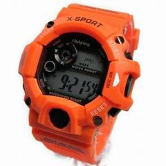 【送料無料】★ショッキングオレンジ・デジタル腕時計★