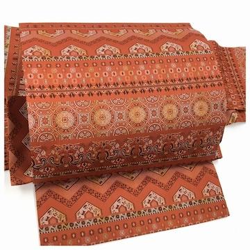 上質 赤 美品 正絹 付け帯 織り 名古屋帯 二部式 簡単装着 中古