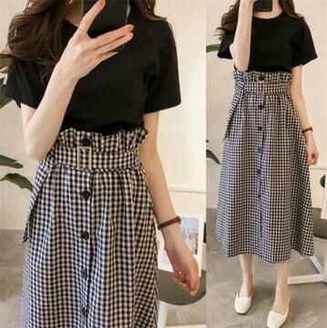 セットアップ  ロングスカート + 半袖 Tシャツ (4XL寸・格子)