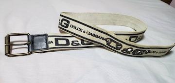 正規 ドルチェ&ガッバーナD&G  カジュアルデニムロゴマニアコンビ×ハトメ ベルト黒×白