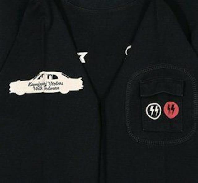 テッドマン×カミナリ雷/ハコスカ/ロンT/黒/tdkmlt-70/エフ商会/カミナリモータース < 男性ファッションの