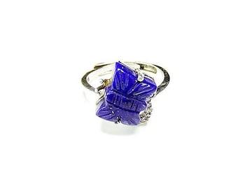 ラピスラズリ指輪リング925銀天然石14.5号バタフライ蝶U0013