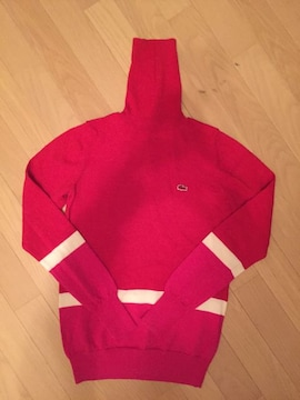 ラコステ 赤ワニ ウール100%ニット タートルネック 赤白ピンク