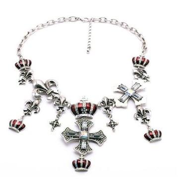 新品ゴスロリ姫系アンティーク調王冠十字架百合紋章ネックレス