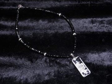 浮彫龍水晶プレート×ブラックスピネルネックレス カッコイイオラオラ数珠