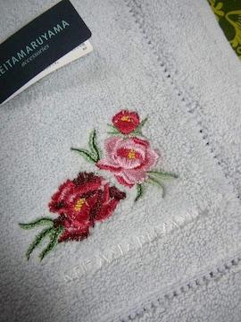 ケイタマルヤマタオルハンカチ薔薇刺繍