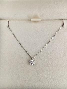 4℃ 一粒ダイヤモンド ネックレス Pt850 0.194ct 1.3g