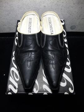 ヒロムタカハラ〓ハート刺繍入シューズ靴〓黒/45〓ロエンROEN〓