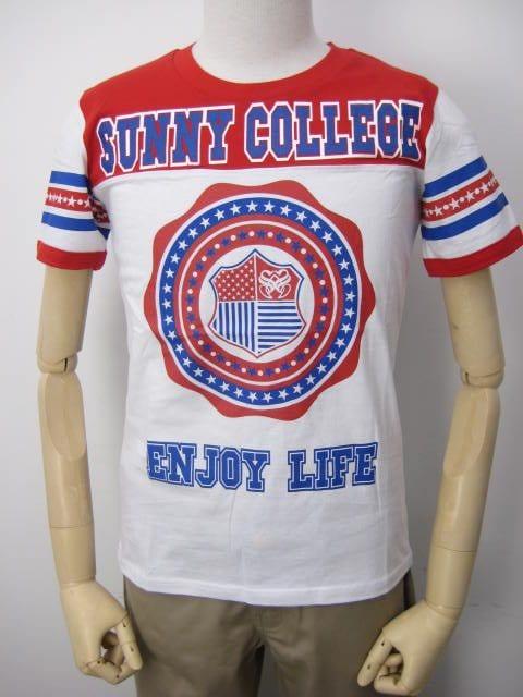 SunnySmith(サニースミス)フットボールスターTシャツ/レッドM < 男性ファッションの