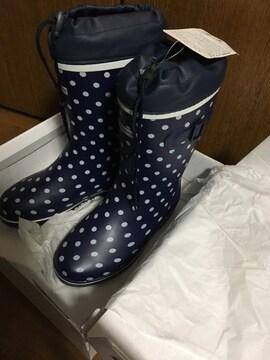 新品の長靴、サイズ22.5から23センチ、ドット柄、送料込