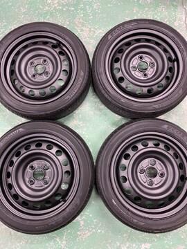 7071566)激安美品ツヤ消ブラックスチ-ルホイ-ル国産タイヤセット165/55R15送料無料