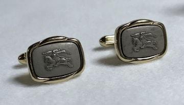 正規 Burberry バーバリー ホース レリーフ騎士ロゴカフス ゴールド×グレー カフリンクス