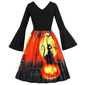 新品大きいサイズ3Lハロウィンかぼちゃと猫のワンピース