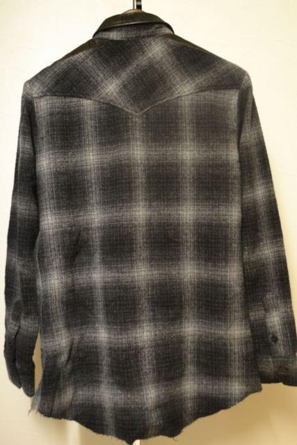 14thaddiction ウールアンゴラレザー切替チェックシャツ 1 < ブランドの