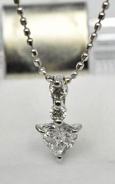 K18WG ハートシェイプ ダイヤモンド 0.241ct ネックレス