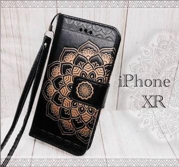iPhoneXR 手帳型ケース 花柄 ネイティブ フィルム  ブラック
