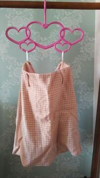 千鳥格子柄 スカート ピンク