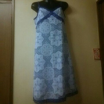 未使用★シフォンオーナメント柄キャミワンピM
