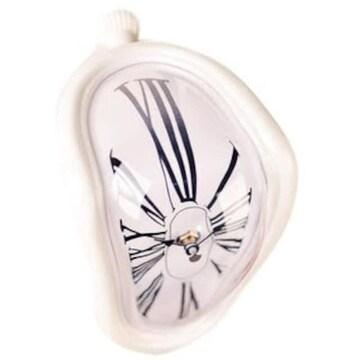 [マローサム] ダリ風 柔らかい時計 置き時計 白 ホワイト