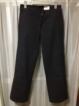 ズッカ ストライプ柄 ストレートパンツ Sサイズ0 黒 ブラック フランス製 カラーパンツ 古着