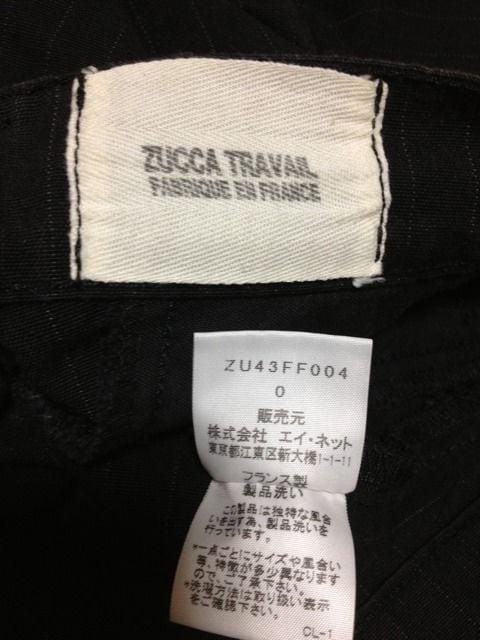 ズッカ ストライプ柄 ストレートパンツ Sサイズ0 黒 ブラック フランス製 カラーパンツ 古着 < ブランドの