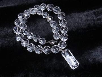 浮彫皇帝龍水晶プレート×64面カット水晶ネックレス 運気アップ数珠