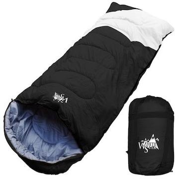 寝袋 ワイド 封筒型 最低使用温度 -5℃ ブラック×ホワイト