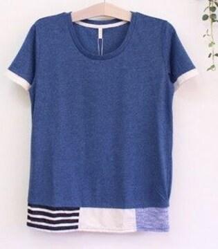 裾パッチワークデザイン半袖カットソー 杢ネイビー系 Mサイズ