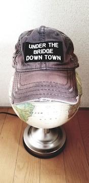 ★U.S.A.グレージュロゴ刺繍ステッチクラッシュ綿野球帽キャップ