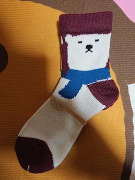 新品、靴下、くつ下、22�p〜25�p、熊、クマ、動物、1円、1スタ