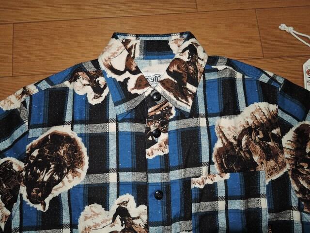 新品 キャリー CALEE ネイティブ柄チェックシャツ S青系 半袖 < ブランドの