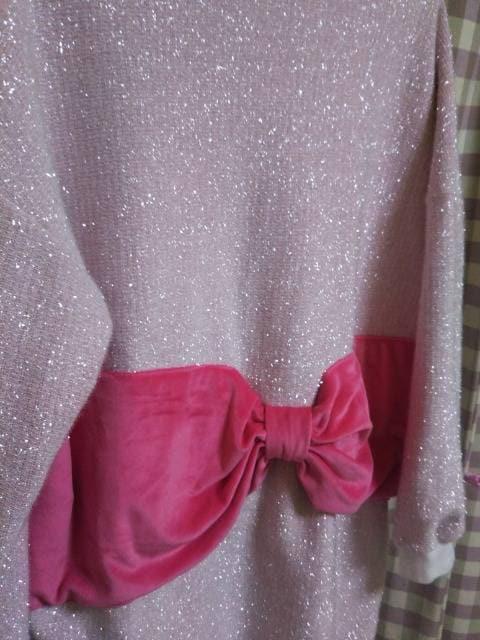 ★オシャレデザイン ラメ LOVE 大きめ トレーナー ハデハデ 注目 ピンク リボン★ < 女性ファッションの