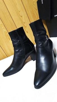 正規 サンローランパリ 85フレンチヒールブーツ黒 40 メンズ9cmヒール アンクルベルト ジップ