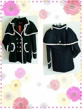☆バイカラーコート☆黒L