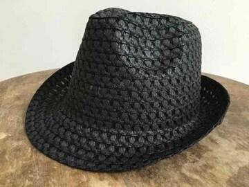 新品!即決!中折れハット 黒 hat black
