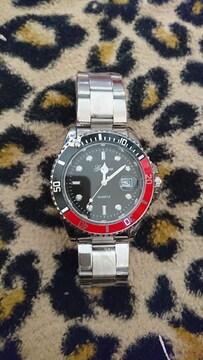 赤&黒ベゼル ダイバーウォッチ風 腕時計 新品 未使用