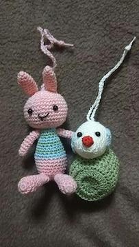 手編みのあみぐるみ、ウサギと俵ネズミ