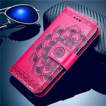 iPhoneX XS 手帳型ケース 花柄 ネイティブ フィルム ピンク
