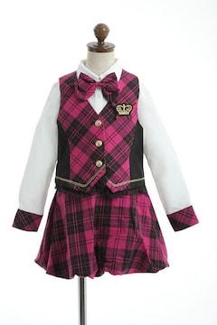 アイドル☆スーツ ピンクチェック 120 女の子女児