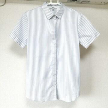 UNIQLO ユニクロ レディース シャツ ストライプ Mサイズ 半袖 白 ホワイト  ブルー