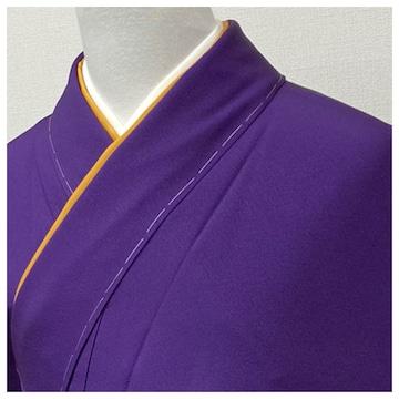 未使用 美品 色無地 正絹 袷 一つ紋(紫色)裄64 身丈157