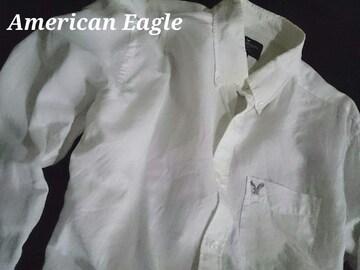 【アメリカンイーグル】Vintage カジュアル リネンシャツ(綿&麻) US−L(XL)White