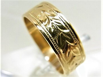 K18 18金 リング 平打 指輪 柄入 サイズ#12