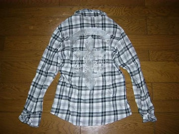 BACKBONEバックボーンエンブレムチェックシャツ黒M薄手ワイヤー