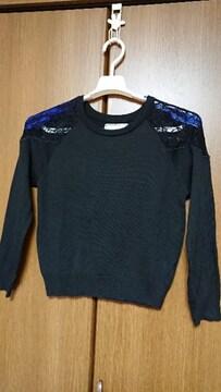 72◆ プルオーバー/セーター*黒*肩レース*M