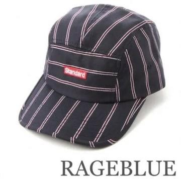 定価2700円 RAGEBLUE【新品】ロゴ入りストライプキャップCAMPCAP