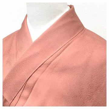 特選 色無地 身丈157 裄62 正絹 袷 一つ紋入り(濃いピンク)